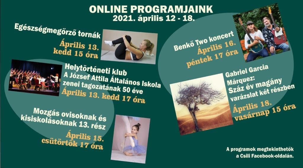 A Csili 15. heti online programjainak ismertetője 2021. április 12 – 18.