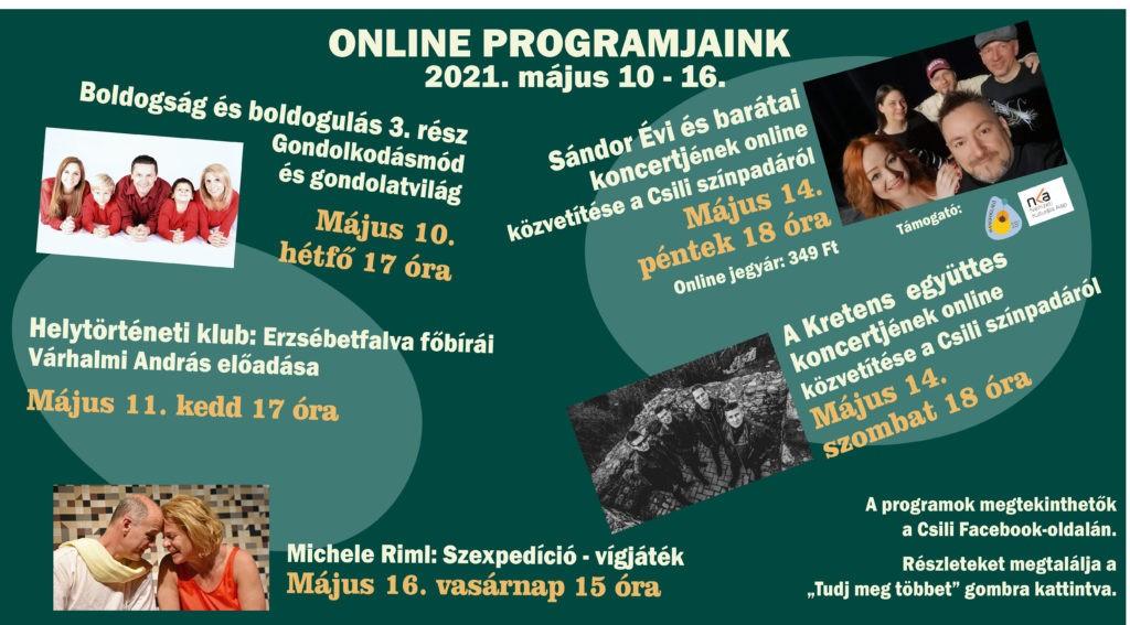 A Csili 19. heti online programjainak ismertetője 2021. május 10-16.